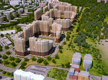 Вид на застройку жилого комплекса с высоты птичьего полета